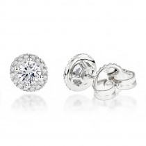 Halo Diamond Studs 14K gold Cluster Diamond Stud Earrings .70ct