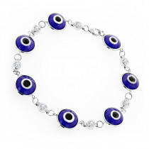 Evil Eyes 14K Gold Diamond Evil Eye Bracelet Blue .70ct