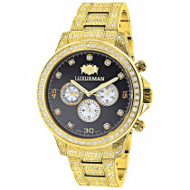 Fully Iced Out Mens Diamond Watch 3ct Yellow Gold Plt Luxurman Swiss Movement
