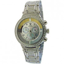 Fully Paved Mens Fancy Color Aqua Master Watch 6.70ct