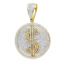Genuine Diamond Real 10k Gold Dollar Sign Pendant for Men 1.65ct Medallion