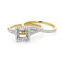 Halo 18K Gold Princess Cut Diamond Engagement Ring Mounting Set 0.48ct