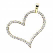 Heart Jewelry 14K Gold Round Diamond Heart Pendant 1.5ct by LUXURMAN