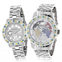His and Hers Watches: Luxurman White Yellow Blue Diamonds Watch Set 6.25ct
