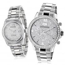 His and Hers Watches: Stainless Steel Luxurman Diamond Watch Set 3.5ct