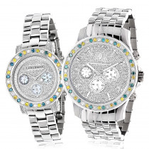 His and Hers Watches: White Blue Yellow Diamond Watch Set 5.25ct Luxurman