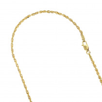 Hollow 10k Gold Rope Chain For Men & Women Sparkle 3mm Wide