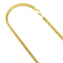 Hollow 14k Gold Franco Chain For Men Square 4mm Wide