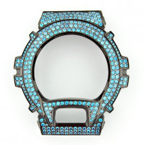 Iced Out Black G-Shock Bezel with Teal Crystals