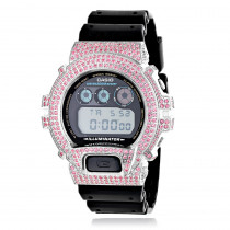 Iced Out Casio Watches: G-Shock Pink CZ Crystal Watch DW6900