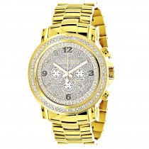 Iced Out Luxurman Large Diamond Bezel Watch for Men Yellow Gold Plated 2.5ct