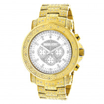 Iced Out Luxurman Mens Diamond Watch w Chronograph Yellow Gold Plated 2ct