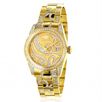 Iced Out Luxurman Tribeca Ladies Diamond Watch 18k Yellow Gold Plated