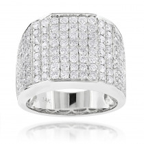 Iced Out Mens Diamond Ring 3.54ct 14K Gold