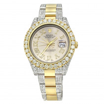 Iced Out Two Tone Rolex Oyster Perpetual Datejust Mens Diamond Watch 15ct