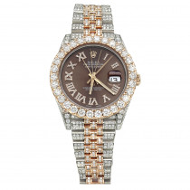 Iced Out Two Tone Rolex Oyster Perpetual Datejust Mens Diamond Watch 21ct