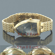 Unique Ladies Diamond Watches: IceTime Yellow Gold Pltd Faceted Glass Watch