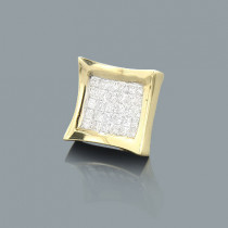 Invisible Set Princess Cut Diamond Earring 0.63ct 14K Gold