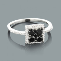 Ladies White Black Diamond Ring 0.75ct Sterling Silver