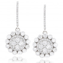 Large Diamond Drop Earrings Sale 3.8ct 14k Gold Round Diamonds