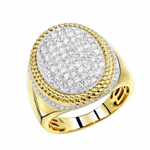 Large Diamond Ring for Men 10k Gold 1.75ct by Luxurman