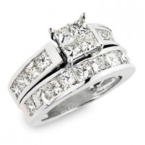 Large Princess Cut Diamond Engagement Ring Set 5.33ct Channel Setting