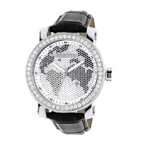 Luxurman Black & White Worldface VS Diamond Watch 4 ct