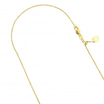 LUXURMAN Solid 14k Gold Cable Chain For Women Adjustable 0.9mm