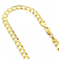 LUXURMAN Solid 14k Gold Curb Chain For Men Comfort 7mm Wide