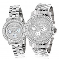 Matching His and Hers Watches: Luxurman Diamond Bezel Watch Set 6ct
