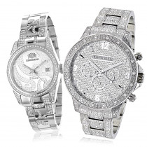 Matching His and Hers Watches: Luxurman Iced Out Diamond Watch Set 4.25ct