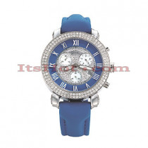 Mens Benny and Company Watch Ice Dial 2.9ct Mens Blue
