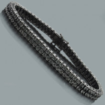 Mens Black Diamond Bracelet 0.50ct Black Rhodium Sterling Silver