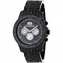 Fully Iced Out Large Mens Black Diamond Watch 1.5ct LUXURMAN