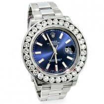 Mens Rolex Datejust Custom Diamond Watch 7.5ct