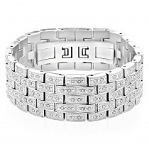 Mens Stainless Steel Link Bracelet with Diamonds by Luxurman 1.5 Carats
