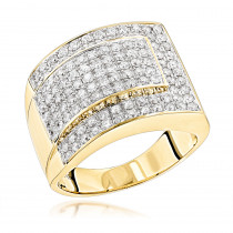 Mens Two Carat Diamond Gold Ring by Luxurman 14K