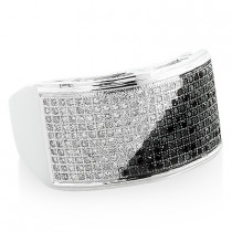 Mens White Black Diamond Ring 0.71ct 10K