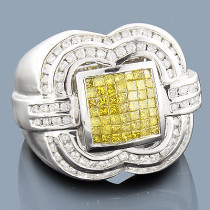 Mens White Yellow Diamond Ring 14K 2.50ct