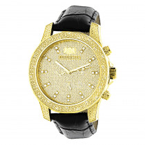 Mens Yellow Gold Plated Watch with Diamonds 0.5ct Luxurman