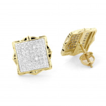Pave Diamond Stud Earrings 1/2ct 14K Yellow or White Gold