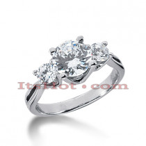 Thin Platinum Diamond Three Stones Engagement Ring 2ct