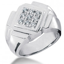 Platinum Men's Diamond Ring 0.27ct