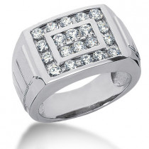 Platinum Men's Diamond Ring 0.78ct