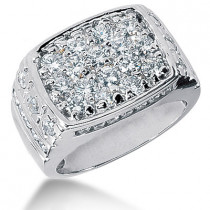 Platinum Men's Diamond Ring 2.68ct