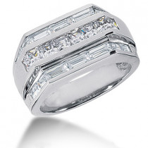 Platinum Men's Princess & Baguette Diamonds Ring 2.76ct