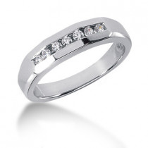 Platinum Round Diamond Men's Wedding Ring 0.21ct