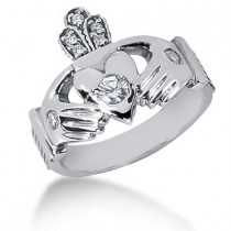 Platinum Round Diamond Men's Wedding Ring 0.34ct