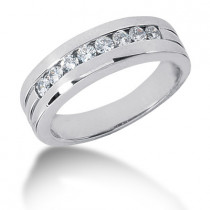 Platinum Round Diamond Men's Wedding Ring 0.56ct