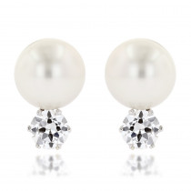 Pre-Owned Platinum Authentic Tiffany & Co Pearl and Diamonds Earrings 2.4ct